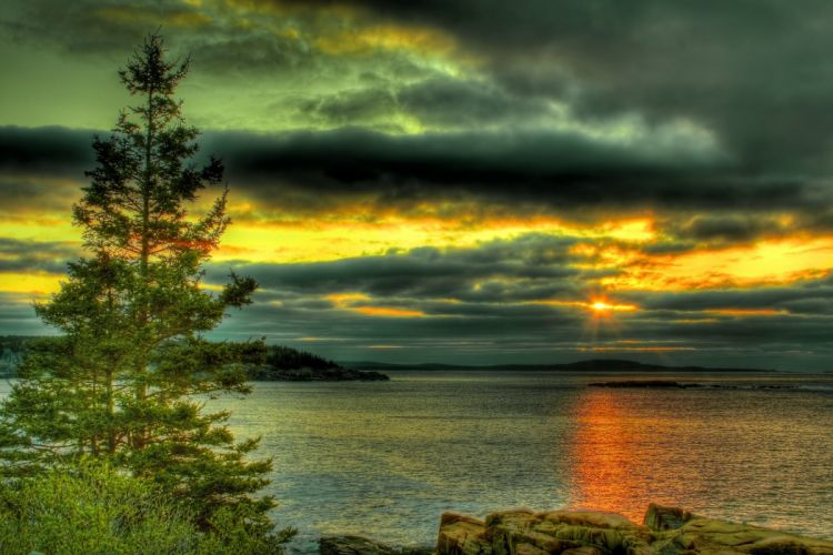 sky clouds sunset lake trees stone wallpaper