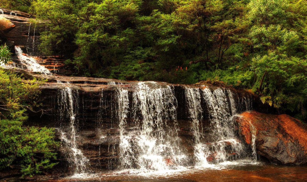 Australia Wentworth Falls waterfall cascade stream rocks bushes wallpaper