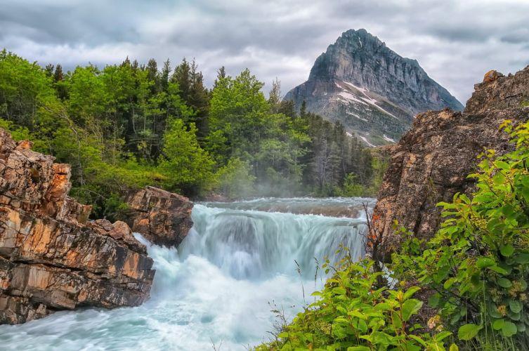 waterfall mountain river rocks trees stream wallpaper