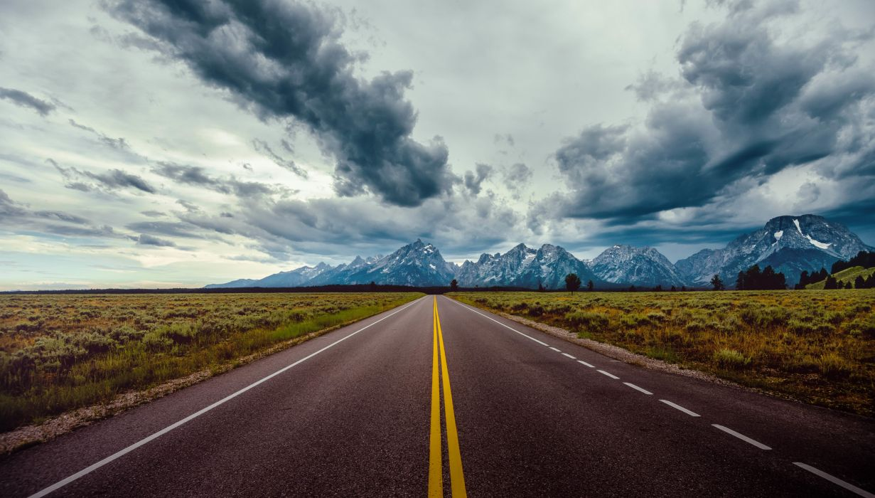 Road Field Horizon Mountains Clouds Sky Wallpaper