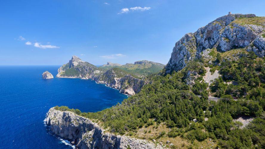 Cape Formentor Mallorca Spain sky sea cliff wallpaper