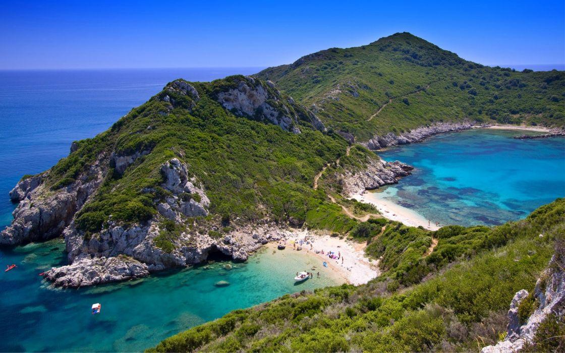 GREECE nature beach sea hills wallpaper