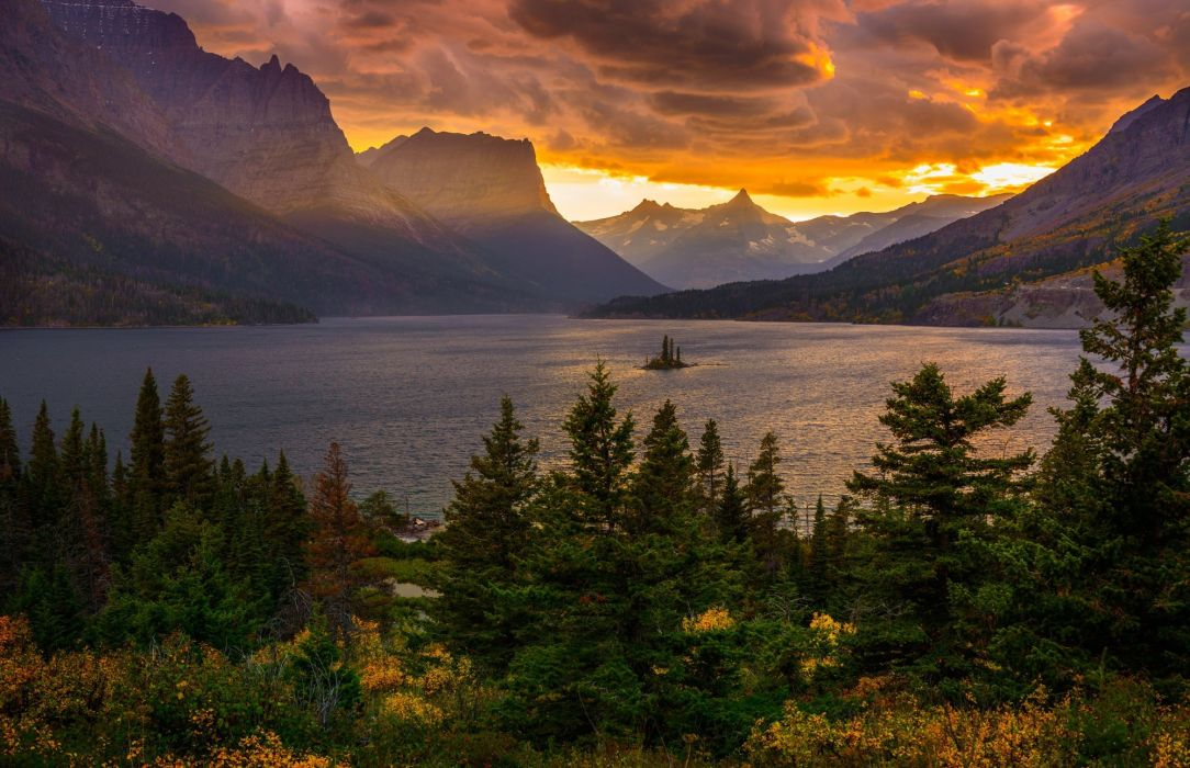 lake mountains forest trees sunset sky clouds wallpaper