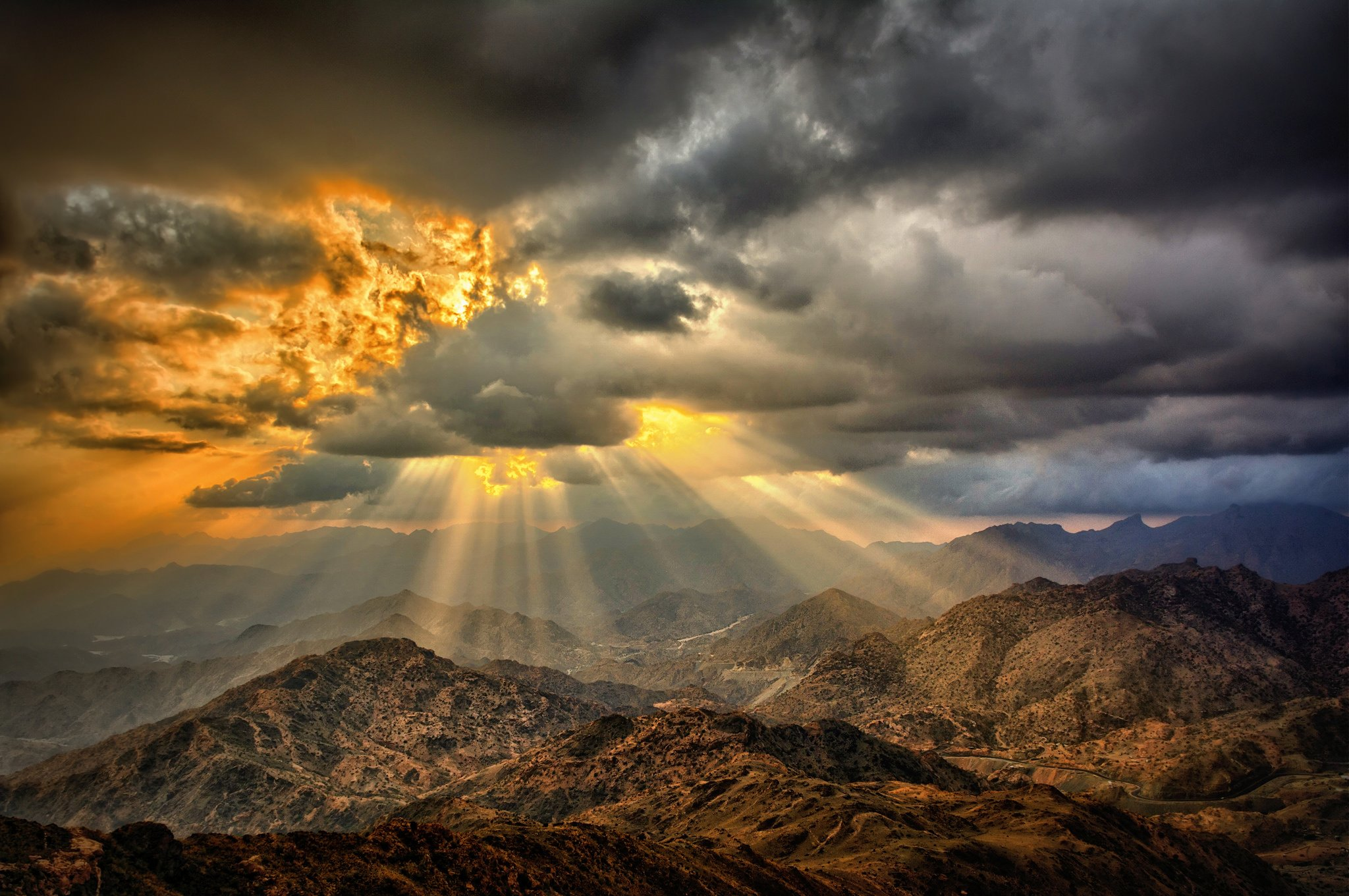 Mountains Desert Clouds Sun Fire Wallpaper