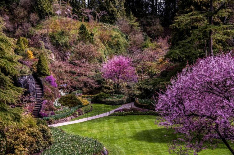Canada Vancouver Butchart Gardens blooming garden lawn shrubs flowers trees walkway stairs steps recovery wallpaper