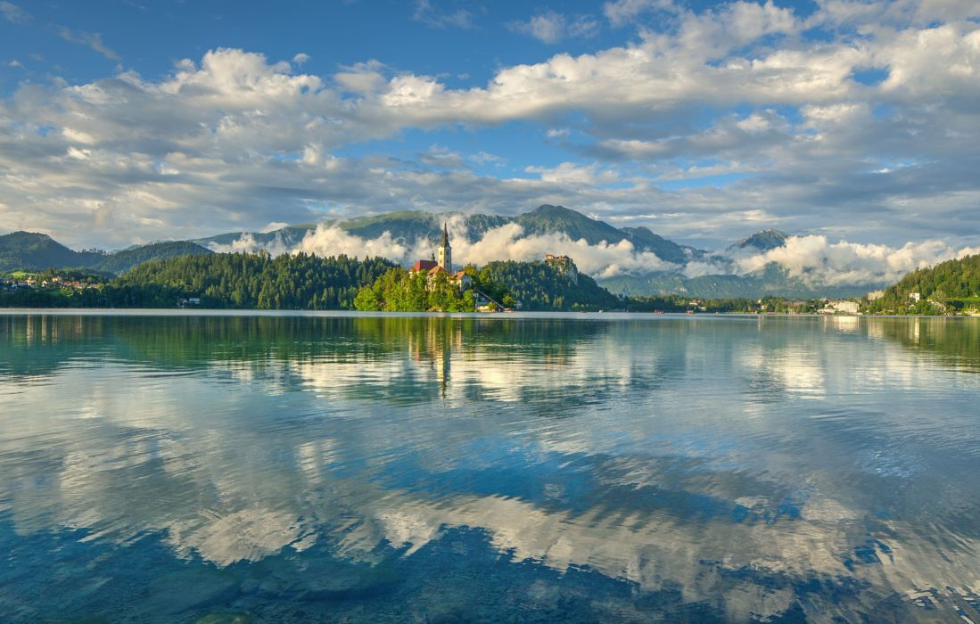 Slovenia Lake Bled Bled Island Church of the Assumption the Julian Alps mirror reflection clouds sky mountains wallpaper