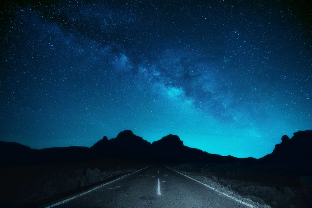 road buttes silhouette the Milky Way stars space wallpaper