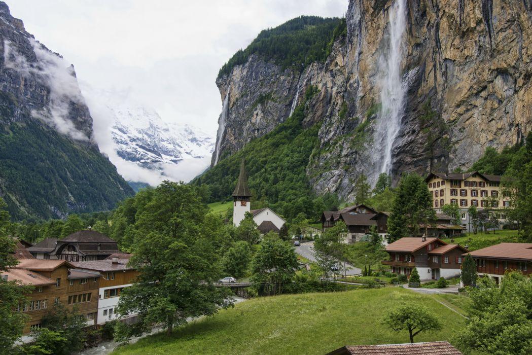 Switzerland Lauterbrunnen mountains rocks valley home chapel waterfall wallpaper