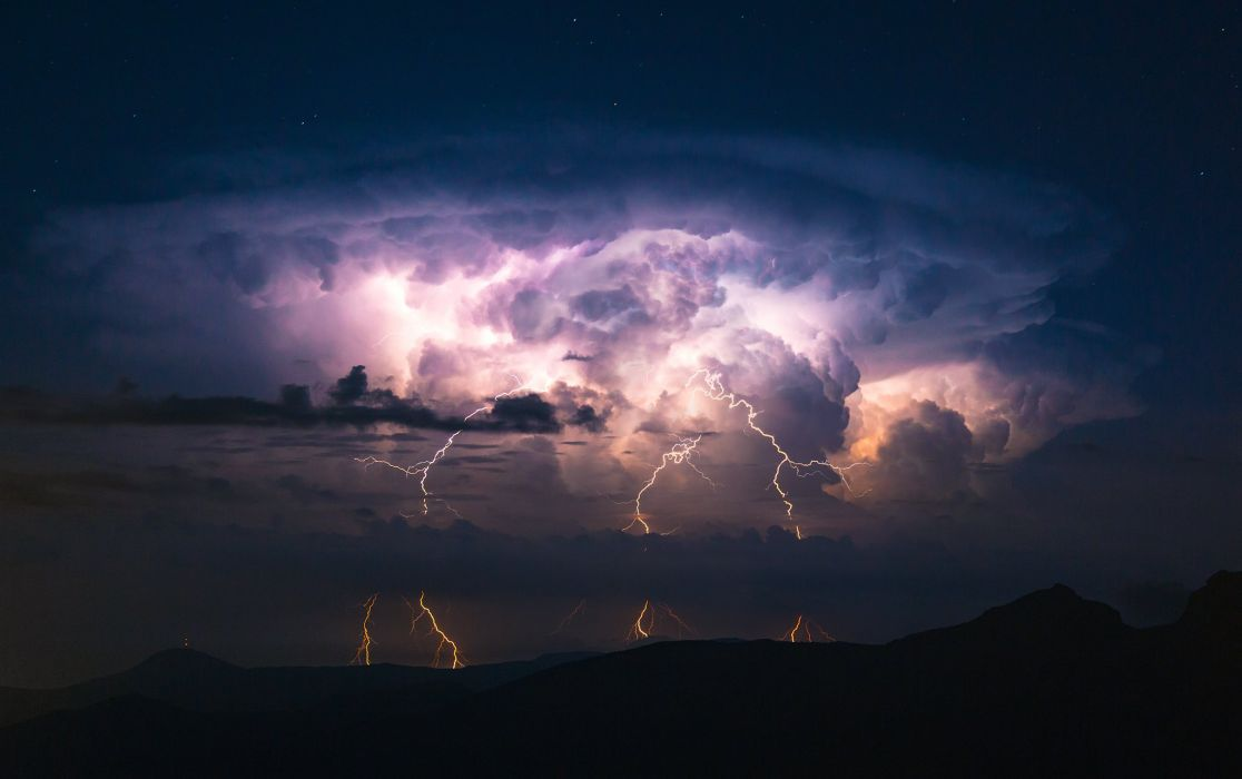 lightning storm sky clouds wallpaper