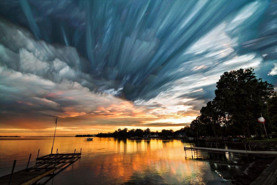 sky clouds water lake pier sunset wallpaper