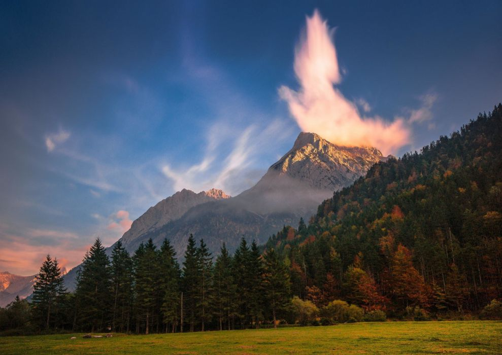mountains clouds trees nature forest wallpaper