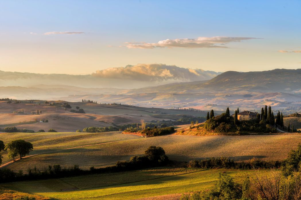 Italy Tuscany Toscana fields meadows space sky sun clouds wallpaper