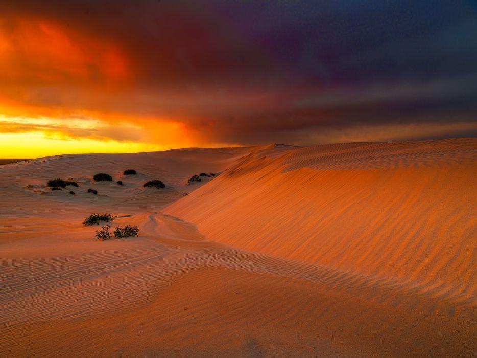 Eucla Australia sky clouds glow desert sand wallpaper