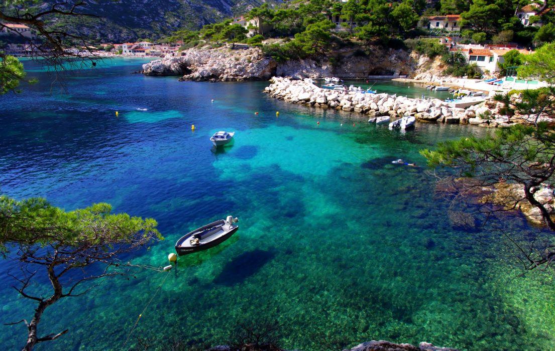 France Marseille You sea beach stones trees boats wallpaper