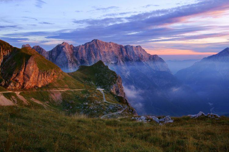 mountains nature haze landscape gorge wallpaper