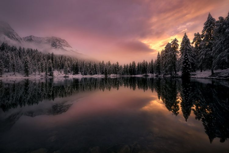 Mountains forest trees fir fog clouds snow winter Italy lake reflection wallpaper