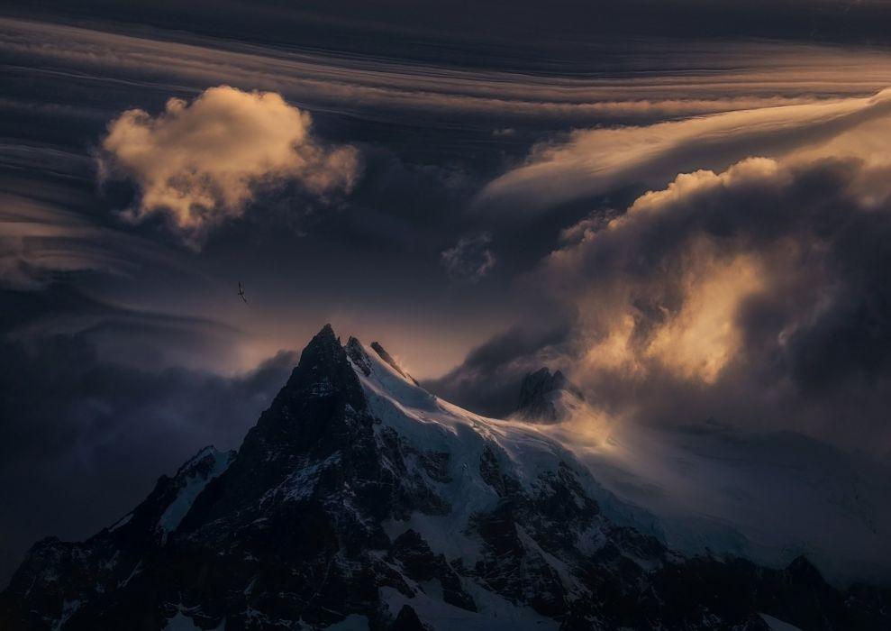 Mountain top snow nature clouds sunset wallpaper