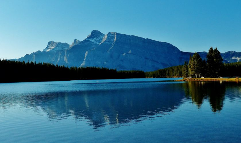 Two Jack Lake Banff National Park Alberta Canada mountains forest lake wallpaper