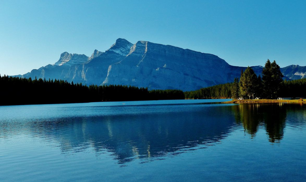 Two Jack Lake Banff National Park Alberta Canada mountains forest lake wallpaper