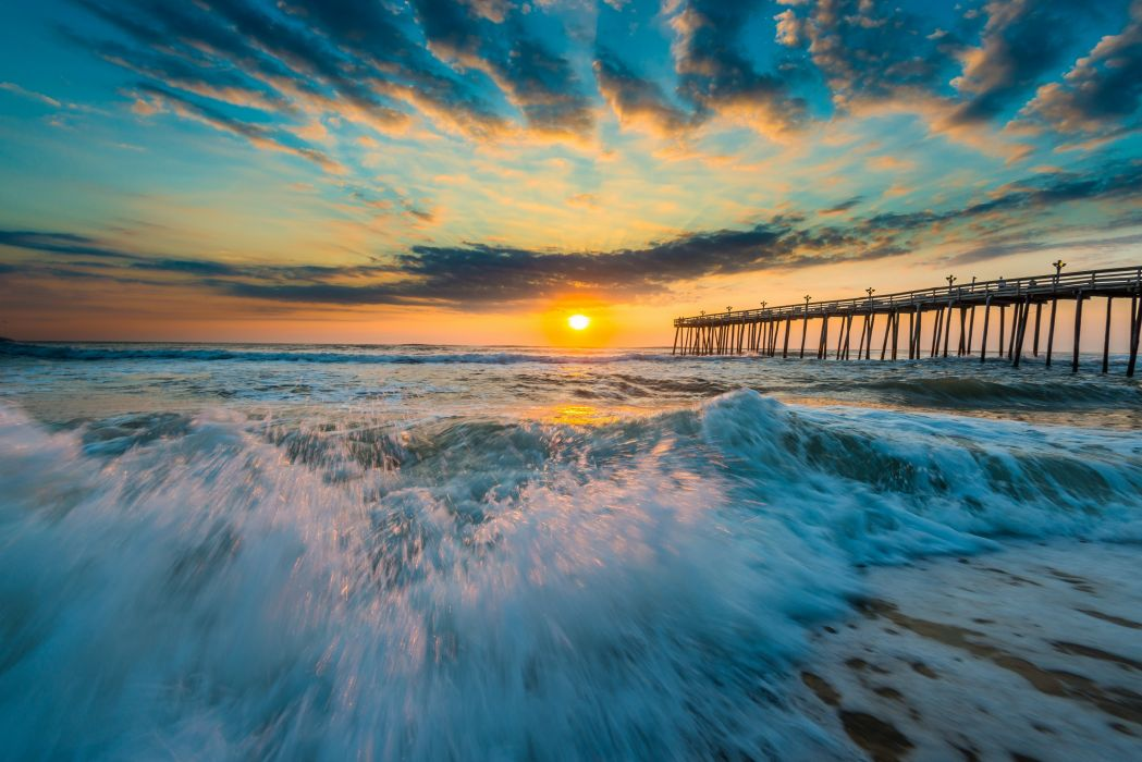 sunset bridge ocean wave wallpaper