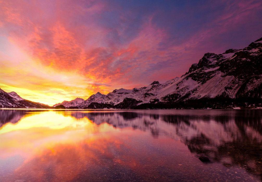 Dawn Lake Winter Mountains wallpaper