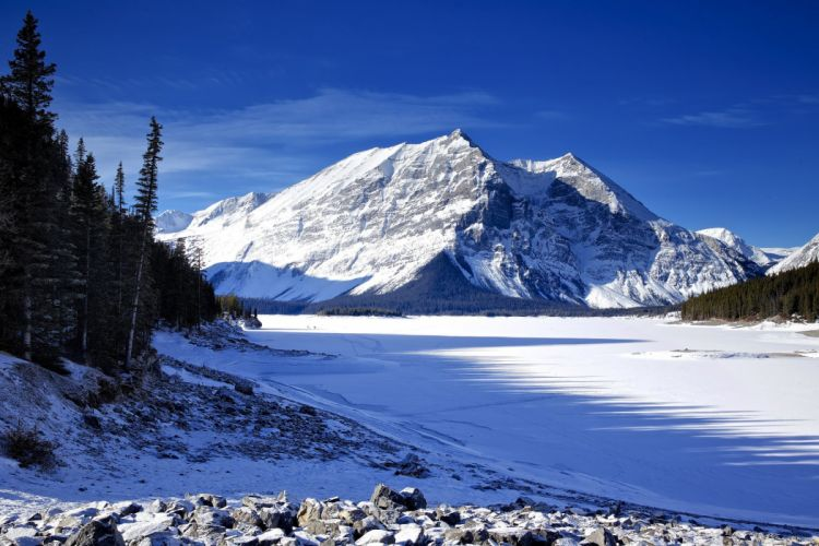 sky mountains winter lake trees snow ice fir wallpaper