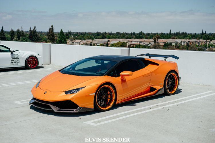 Orange Lamborghini Huracan cars modified wallpaper