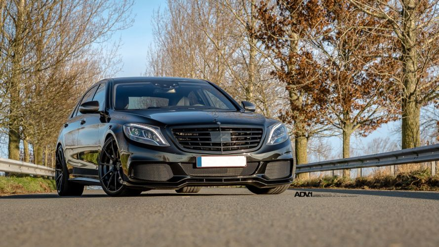 Mercedes S-Class Sedan black brabus ADV1 wheels cars wallpaper