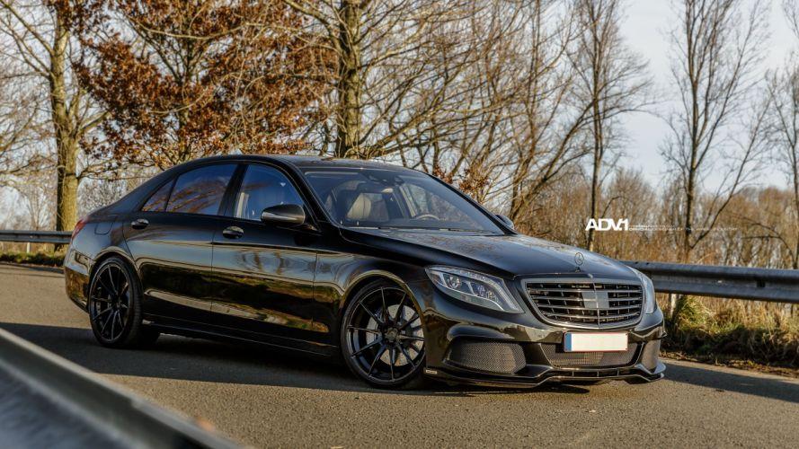 Mercedes S-Class Sedan black brabus ADV1 wheels cars wallpaper