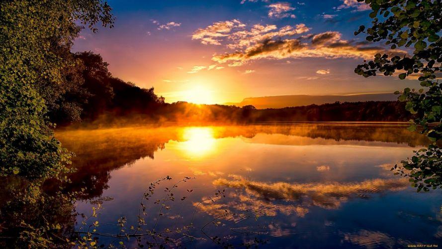 sunrise sunset lake reflection wallpaper