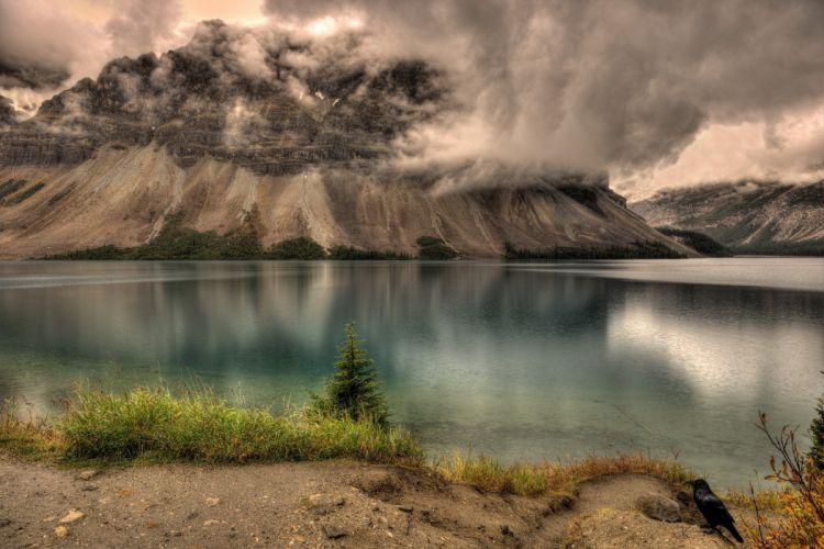 lake mountains landscape clouds rain wallpaper