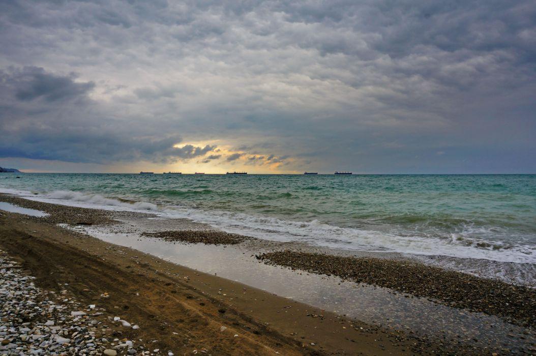 Black sea sky clouds clouds cloudy waves wallpaper