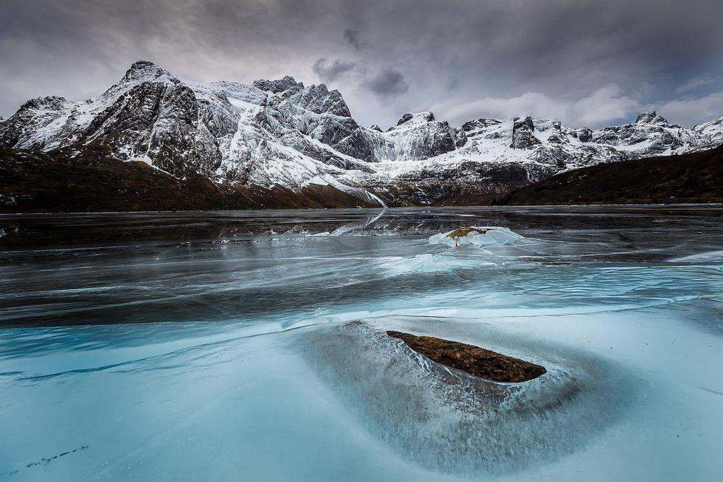 Mountain Snow Winter Lake Ice wallpaper