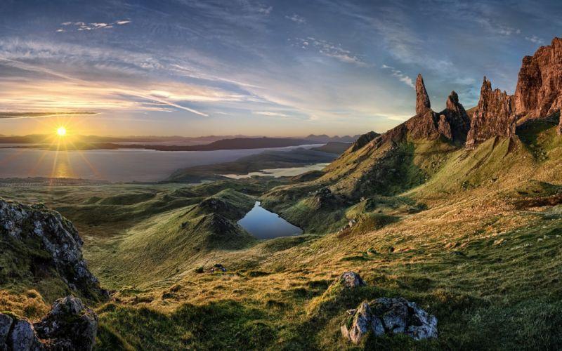 nature landscape sunrise island scotland grass sea mountain wallpaper
