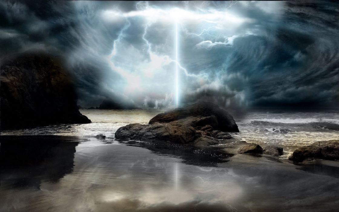 ocean storm lightning clouds wallpaper