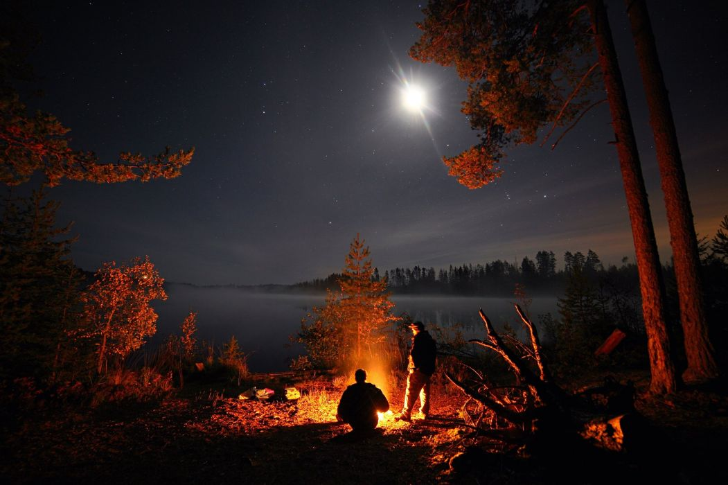 sky stars night moon lake beach fire people wallpaper