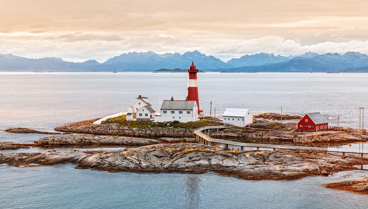 Norway Coast sea mountains lighthouse wallpaper