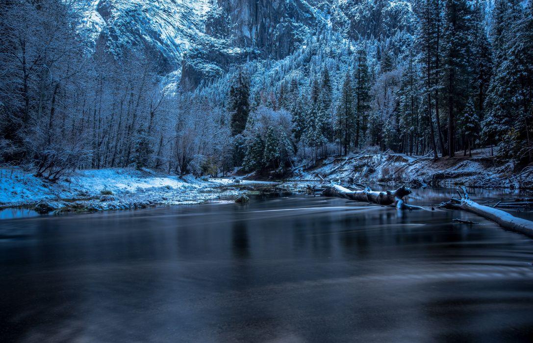Winter Snow River wallpaper