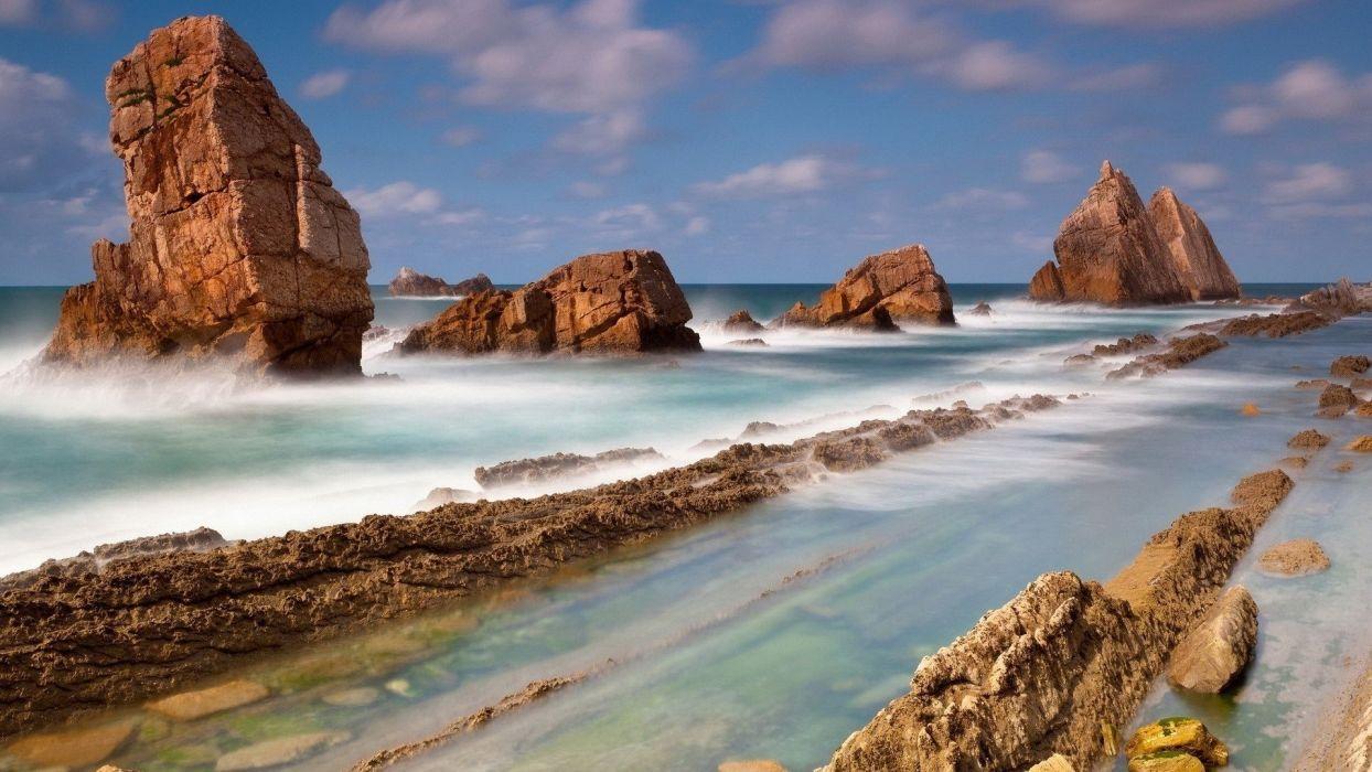 nature landscape rocks ledges water wallpaper
