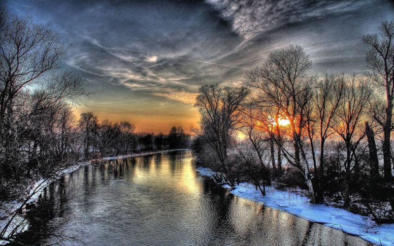 river trees winter snow sunset wallpaper