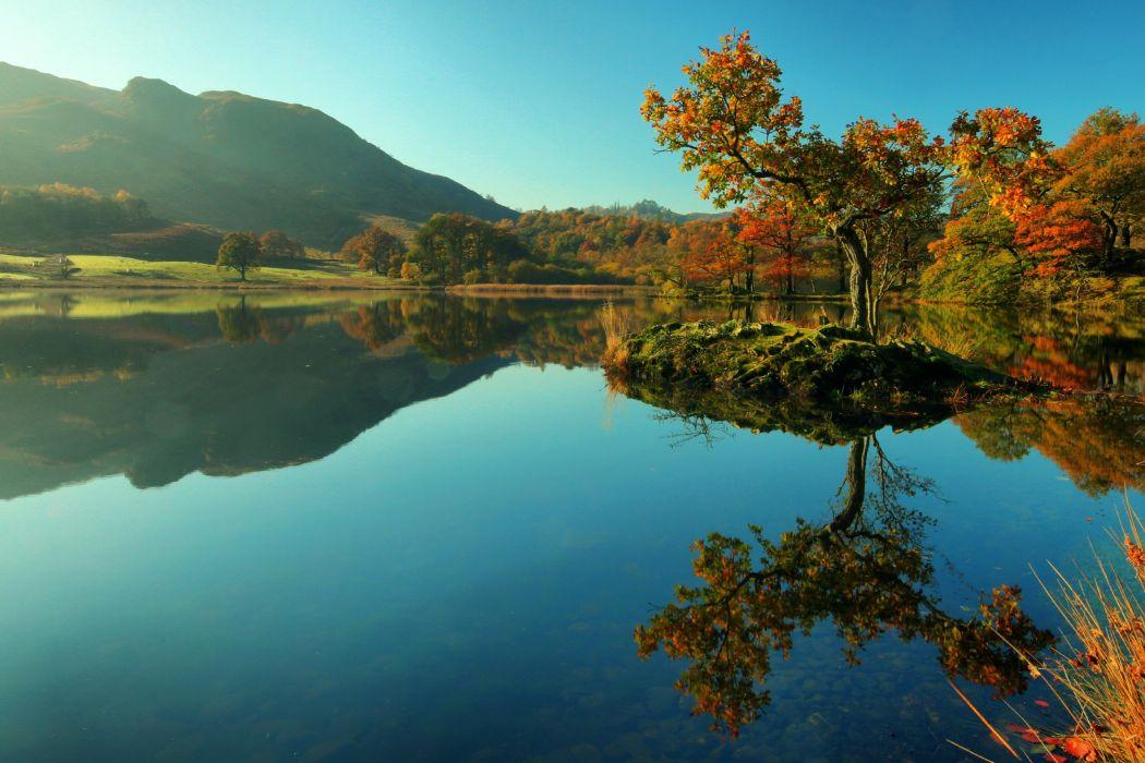 England Mountains Lake Autumn Trees White Moss Nature wallpaper