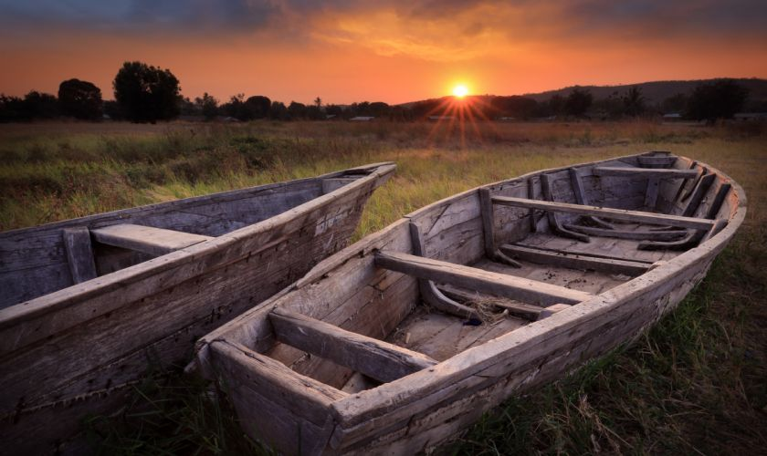 Boats Sunrises and sunsets Nature wallpaper