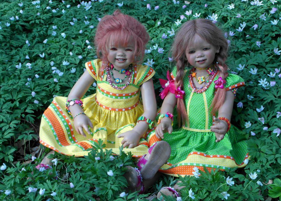 Germany Parks Doll Little girls Grass Two Dress Grugapark Essen Nature wallpaper