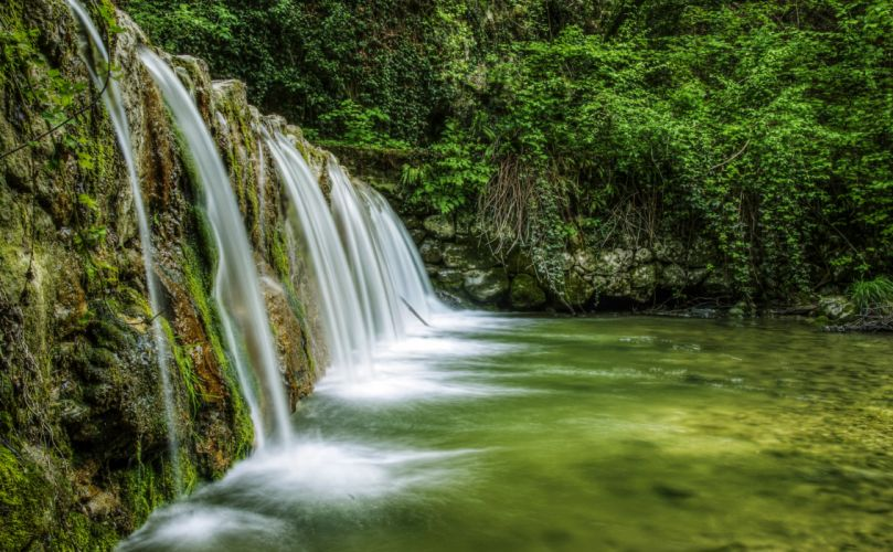 Italy Waterfalls Rivers Moss Mondrago Veneto Nature wallpaper