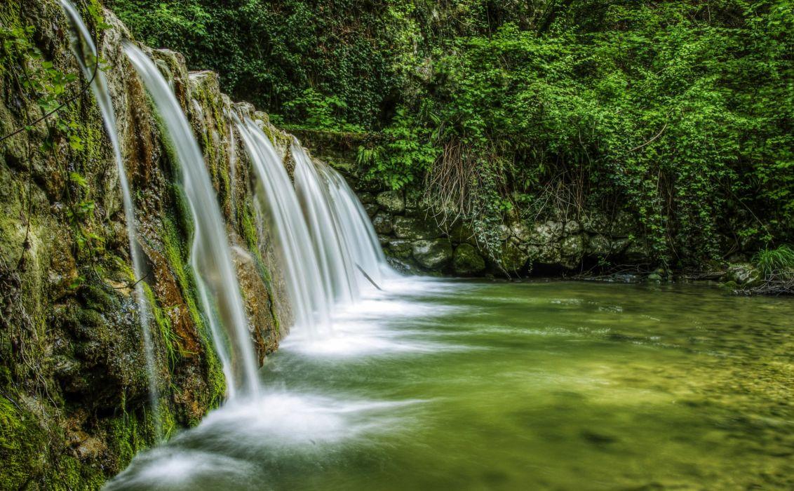 Italy Waterfalls Rivers Moss Mondrago Veneto Nature wallpaper