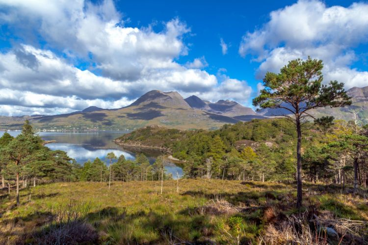 Scotland Scenery Lake Mountains Clouds Trees Upper Loch Torridon Nature wallpaper