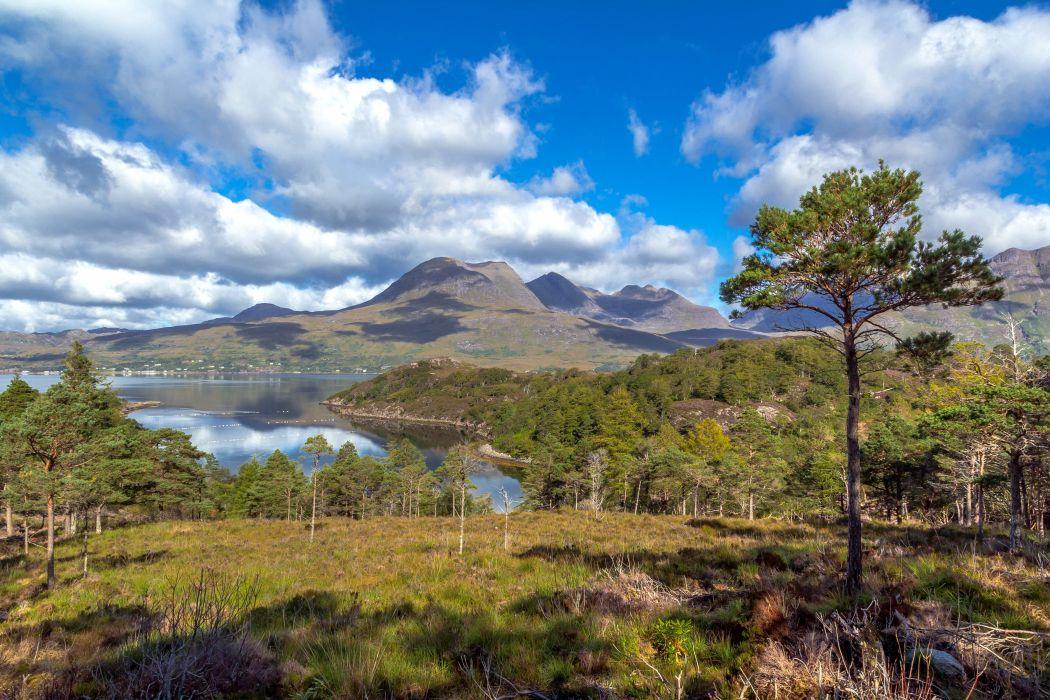 Scotland Scenery Lake Mountains Clouds Trees Upper Loch Torridon Nature wallpaper