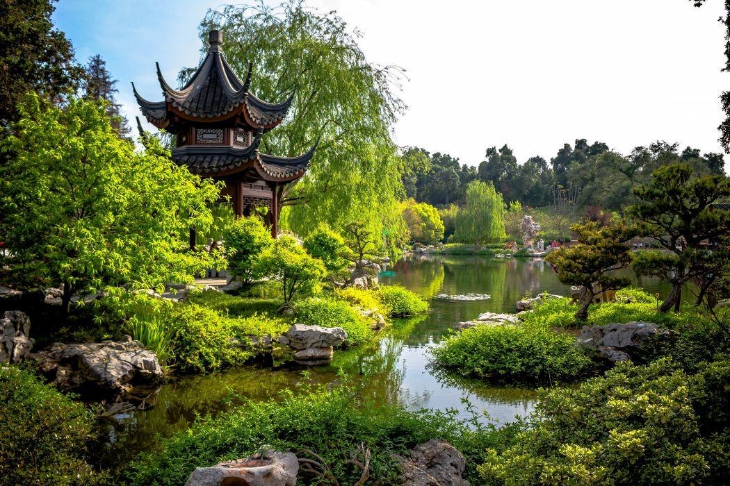 Usa Gardens Pagodas Pond California Trees Huntington Botanical