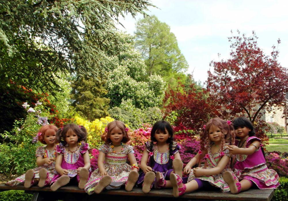 Germany Doll Little girls Dress Trees Grugapark Essen wallpaper