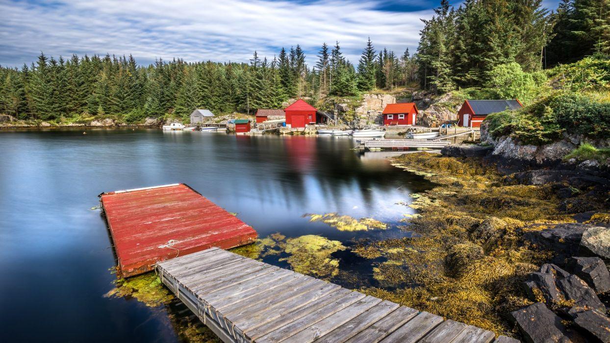 Norway Forests Lake Houses Marinas Hordaland Nature wallpaper